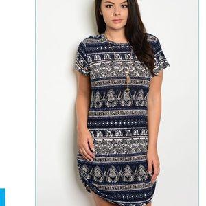 Indigo Taupe plus size dress NEW boho shift hachi